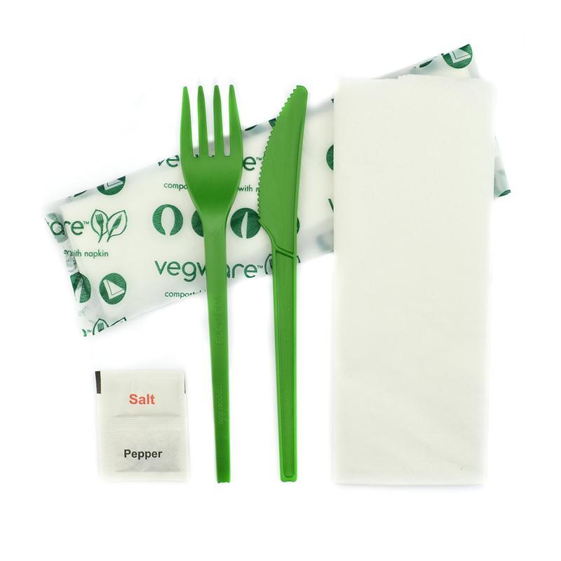Knife, fork, spoon, napkin 16cm, salt & pepper in bio bag